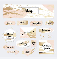 A set of blog design elements kit frames vector