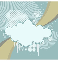 Abstract retro background with clouds and rays vector