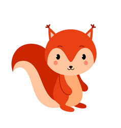 Adorable squirrel in modern flat style vector