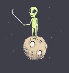 Alien make selfie on the moon vector