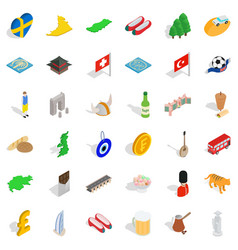 Around the world icons set isometric style vector