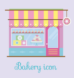 Bakery facade view bakehouse icon pastry store vector