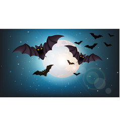 bats flying at night full moon halloween vector image