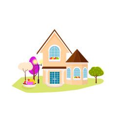 beautiful house with garden on white background vector image