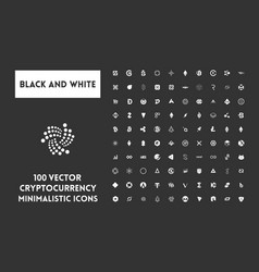 big set of black and white cryptocurrency vector image