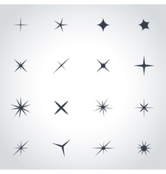 black sparkles icon set vector image