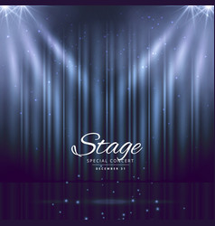 Blue stage background with closed curtains vector