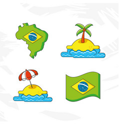brazil country set icons vector image