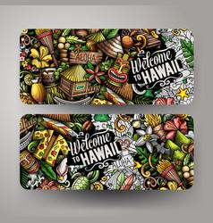 cartoon cute doodles hawaii horizontal banners set vector image