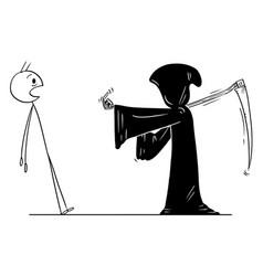 cartoon man ordered grim reaper with scythe vector image