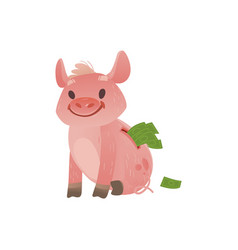 cartoon piggy bank with happy facial vector image