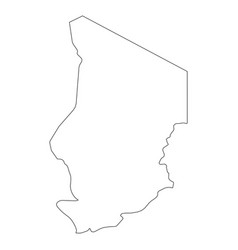 chad - solid black outline border map of country vector image