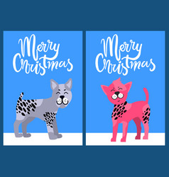 Christmas postcards with congratulation and dogs vector