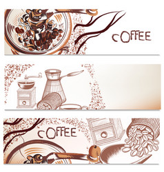 Coffee backgrounds set vector