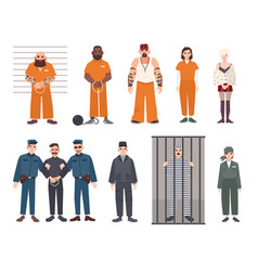 colorful collection of male and female prisoners vector image