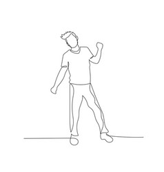 continuous one line dancing man with fancy vector image