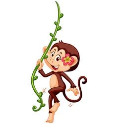 Cute monkey climbing vine vector