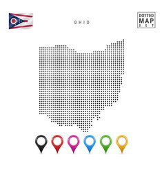 Dots pattern map ohio stylized silhouette vector