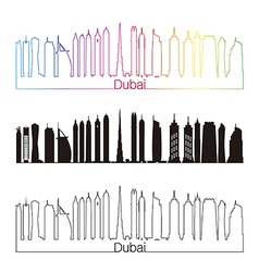 Dubai V2 skyline linear style with rainbow vector image