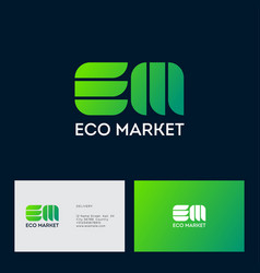 E m monogram organic products business card vector