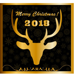 elegant merry christmas card with golden deer vector image