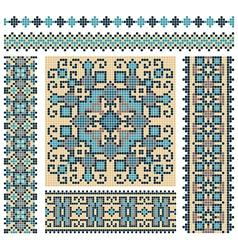 embroidered good like handmade cross-stitch vector image