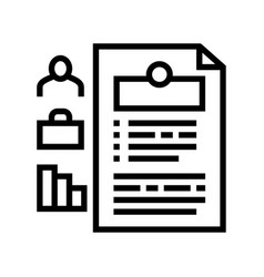 Employee cv line icon sign vector
