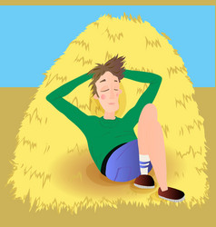 Farmer in agreen jumpsuit lies on haystack vector