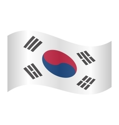 Flag of South Korea waving on white background vector image