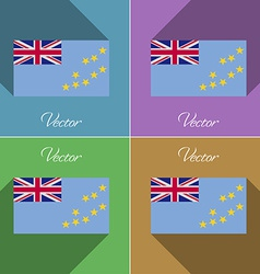 Flags Tuvalu Set of colors flat design and long vector image