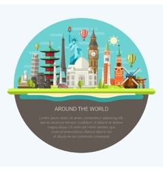 flat design postcard with famous vector image