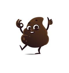 Flat poop waving hand vector