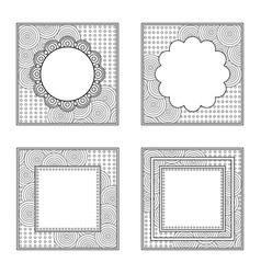 Four square frames for color book or other design vector