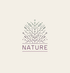 geometric tree floral nature line logo vector image