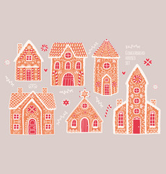 Gingerbread houses set cute hand drawn honey vector