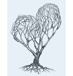 Graphic heart shaped tree sketch vector