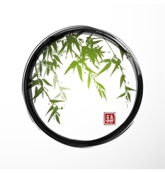 Green bamboo in black enso zen circle vector