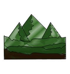 Green mountains icon vector