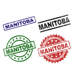 Grunge textured manitoba stamp seals vector