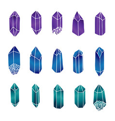 Hand drawn crystals and gems set isolated vector