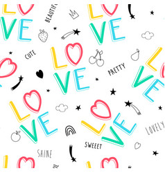 hand drawn slogan pattern seamless vector image