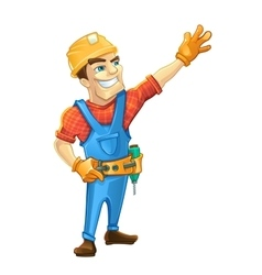 Handyman builder in helmet pointing to the top vector