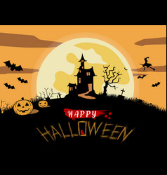 Happy halloween poster creepy castle vector