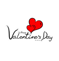 Happy valentines day typography with red heart vector