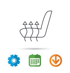 Heated seat icon warm autoarmchair sign vector