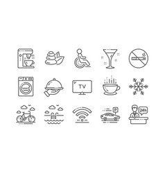 Hotel service line icons wi-fi air conditioning vector