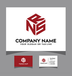 Initials nrs hexagon logo with a business card vector
