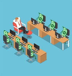 Isometric businessman let his money do the work vector image