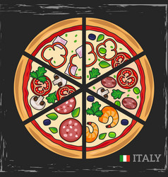 italian pizza on grunge backdrop vector image