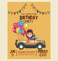 kids birthday invitation card vector image
